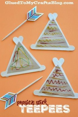 Popsicle Stick Teepees - Kid Craft for Thanksgiving, Native American or tents for a camping unit.