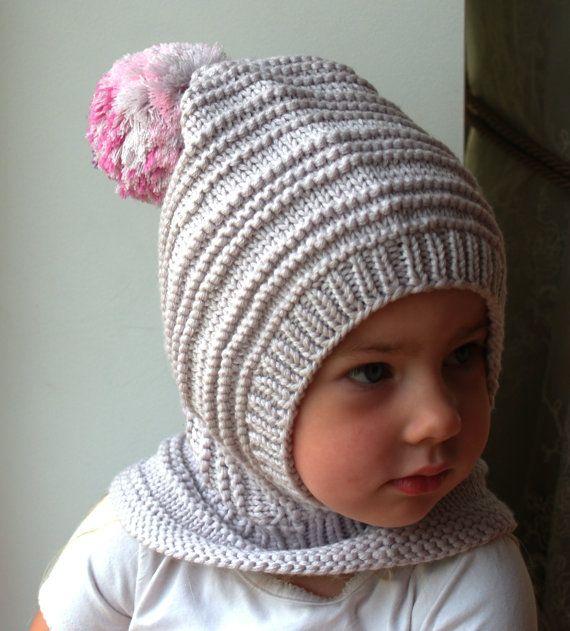 light grey merino pixie balaclava baby toddler girl