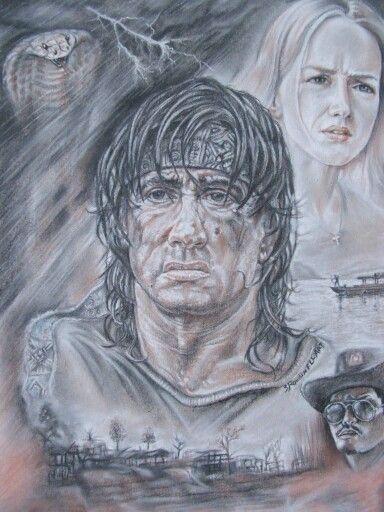 John Rambo by Rondinellart -  Sanguigna gessetti e carboncino su cartone 50x70.