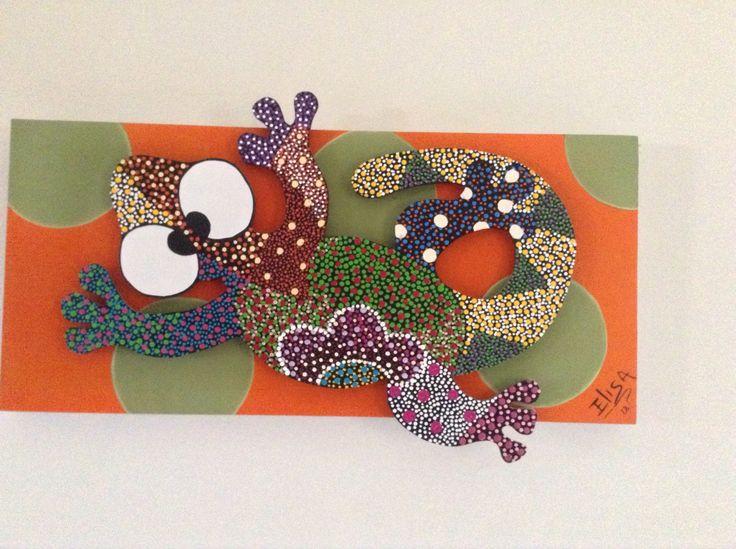 Lizard 3D mural by CraftsElisa on Etsy