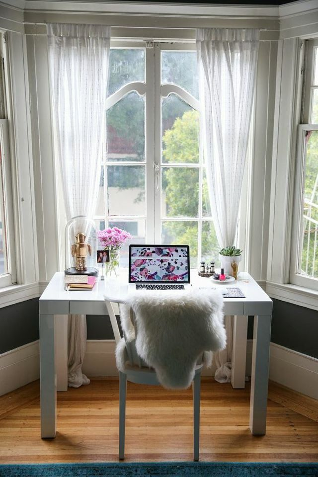 Home Office In A Bay Window My Style Pinterest Small