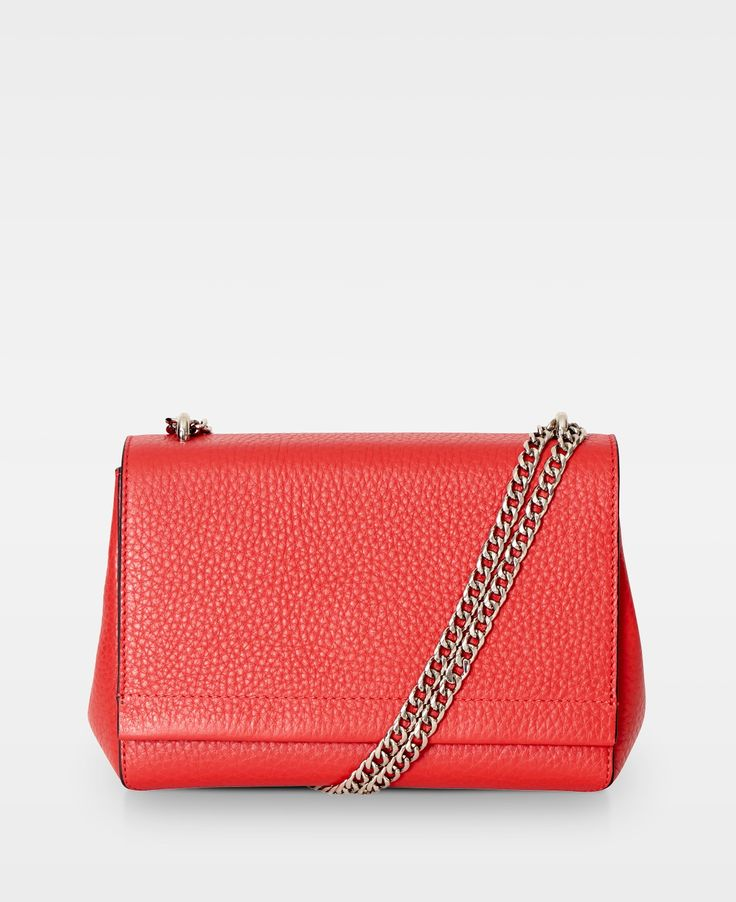 Small clutch w. double chain - Red