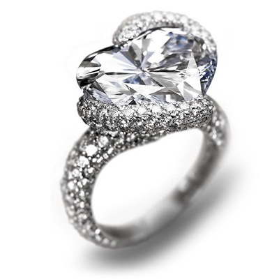 "Chopard,Haute Joaillerie collection.  11.36 carat ""D"" color ""IF"" clarity heart shaped diamond set in pave diamond encrusted platinum."