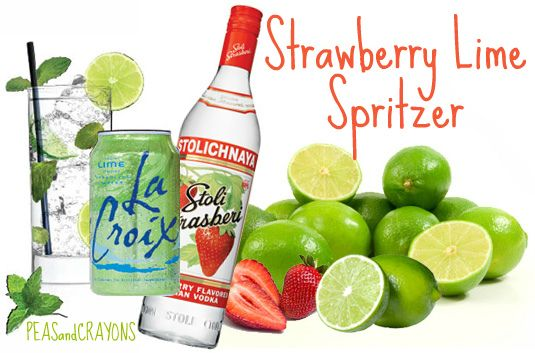 one can of sparkling lime La Croix,1-2 shots of strawberry vodka (chilled),   as many slices of fresh strawberry and lime as you can fit in the glass