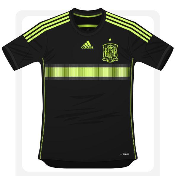 Camisa 2 da Espanha pode ser preta e amarela - http://www.colecaodecamisas.com/camisa-2-da-espanha-pode-ser-preta-e-amarela/ #colecaodecamisas #Adidas, #Copadomundo2014