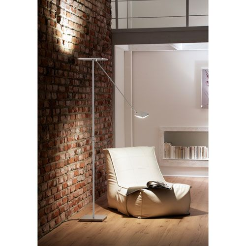 Platz Brushed Aluminum LED Four-Light Torchiere Floor Lamp with Reading Arm