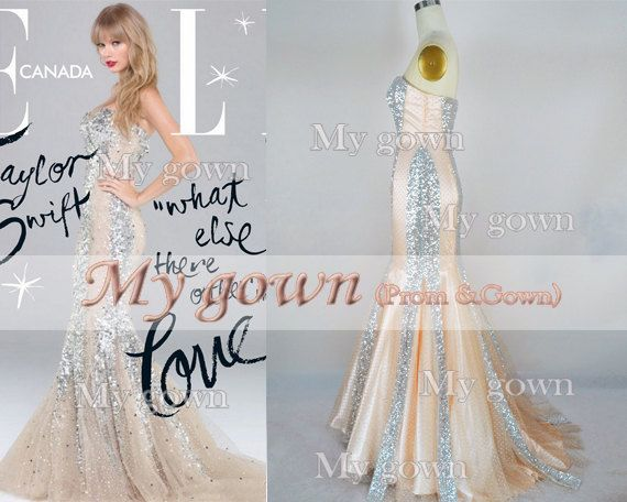 2014 Mermaid Sequins Beading Prom Dress, Wedding Dress, Evening Gown,Bridesmaid Dresses,Evening Dresses,Formal Gowns