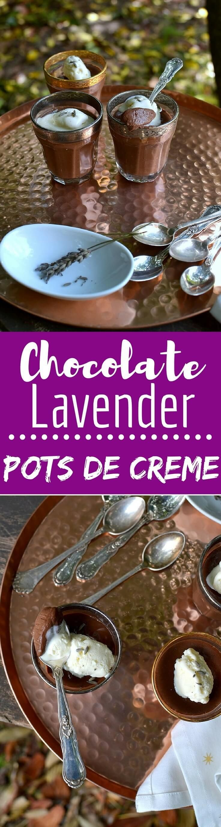 Chocolate Lavender Pots de Creme: A show-stopper of a French Dessert, these divinely rich and intensely chocolatey Pots de Creme are perfect for special occasions!