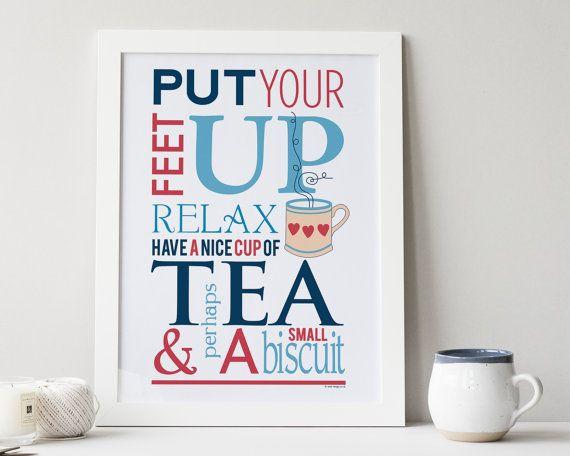 Tea And Biscuit Typographic Tea Print - friendship gift - gift for mum - tea mug - tea lover gift - winkdesign - housewarming gift - uk