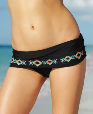 Jessica Simpson Foldover Embroidered Brief Bottom Women's Swimsuit | 65% OFF