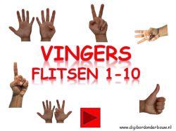 Digibordles vingers flitsen 1 tot en met 10. http://digibordonderbouw.nl/index.php/themas/lichaam/lichaam/viewcategory/394-lichaam-digibordlessen