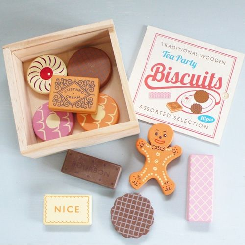 A tea party isn't complete without some biscuits! Gorgeous set of vintage inspired wooden tea party biscuits kids game by Lark.