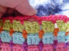 Basics :: Block stitch (lots of different names: brick stitch, mosaic stitch, 'Chocolate Box') ~ alternating rows of DC & chain stitch loops.