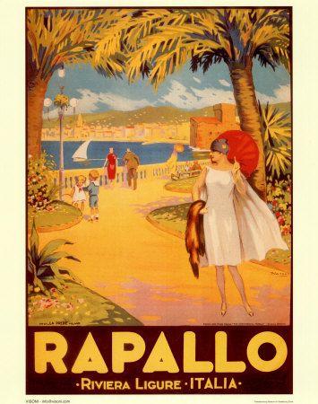 Rapallo, Riviera Ligure - Liguria - Italy vintage travel poster #riviera #essenzadirviera