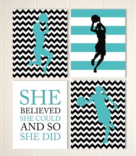 Basketball girls wall art, girls room decor, black turquoise, chevron, girls quote art, inspirational sports art, set of 4, custom colors by PicabooArtStudio