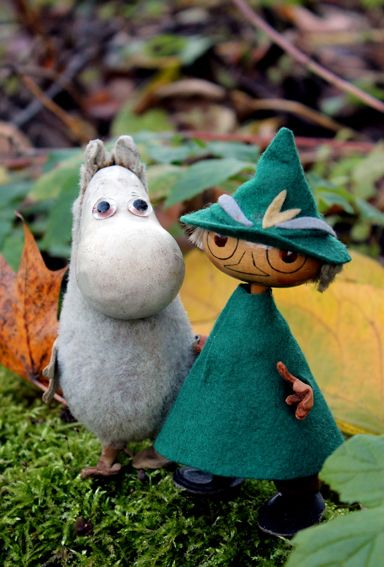 Moomin and Snufkin, made in Finland by Ateliér Fauni in 1950-60's. Suomenlinna Toy Museum, Helsinki.