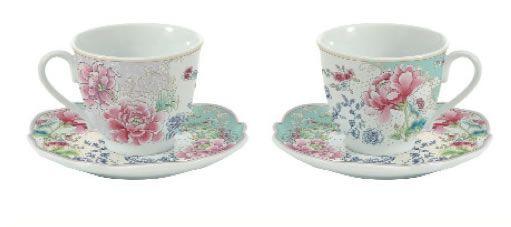 set 2 tazze da te in porcellana con decorazioni chinoiserie