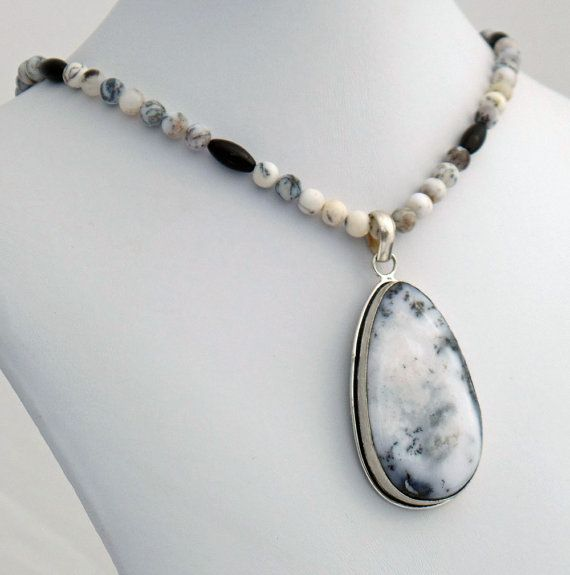 Dendrite Opal Pendant with Dendrite and Black Onyx Necklace,   Dendritic Opal