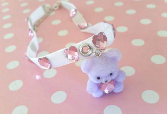 Tiny Teddy Choker  Cute Fairy Kei Kawaii by JacieKakes on Etsy