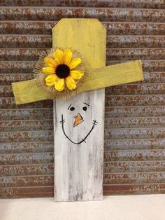 Wood Scarecrow handmade with hand painted face & sunflower with burlap on hat - Fall decorating Holiday decor by CreativePlaces on Etsy