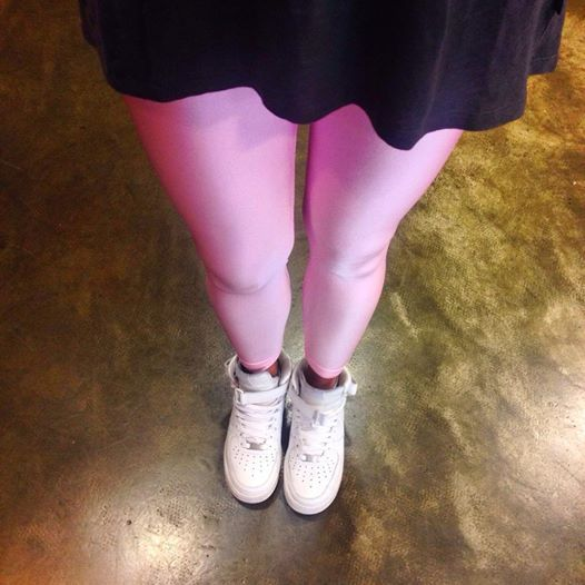 Baby pink leggings at Prime Timers, Patra