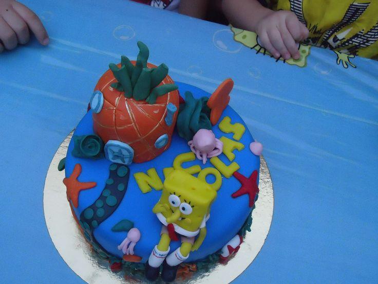 Decoración en el cumpleaños de Bob Esponja, para los dos años de Nicolás Ramos.