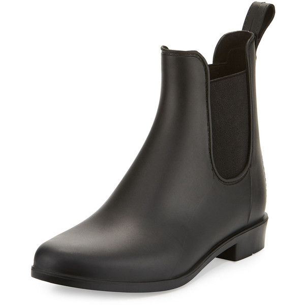 Sam Edelman Tinsley Gored Matte Ankle Rain Boot ($55) ❤ liked on Polyvore featuring shoes, boots, ankle booties, black, rain boots, wellington boots, rubber boots, black rain boots and sam edelman booties