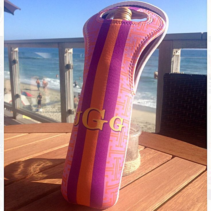 "me&re design on Instagram: ""no better place to cocktail than the beach! #vinobythesea #coolglassofwhite #monogrammedwinetote #meandredesign"""