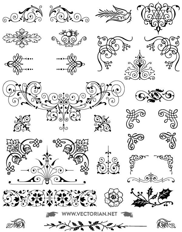 Download Free Vintage Vector Ornaments Pack  - All free download 85 Free vintage ornaments vector pack. Includes swashes, decorative corners, typographic ornaments, fleurons, vignettes, text dividers, brass rules, floral decorations Vectorized by hand from genuine type foundry catalogs from the Victorian era.