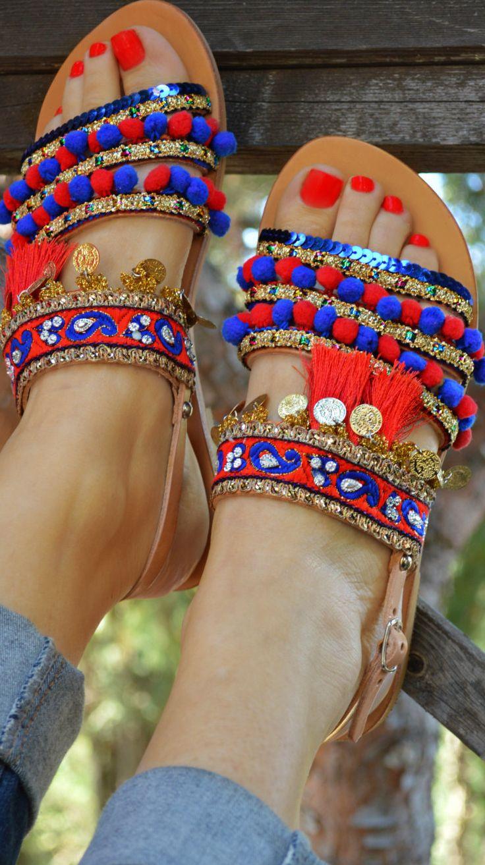 Pom Pom Sandals,Leather strappy sandals ,Summer shoes ,Bohemian sandals, Boho…