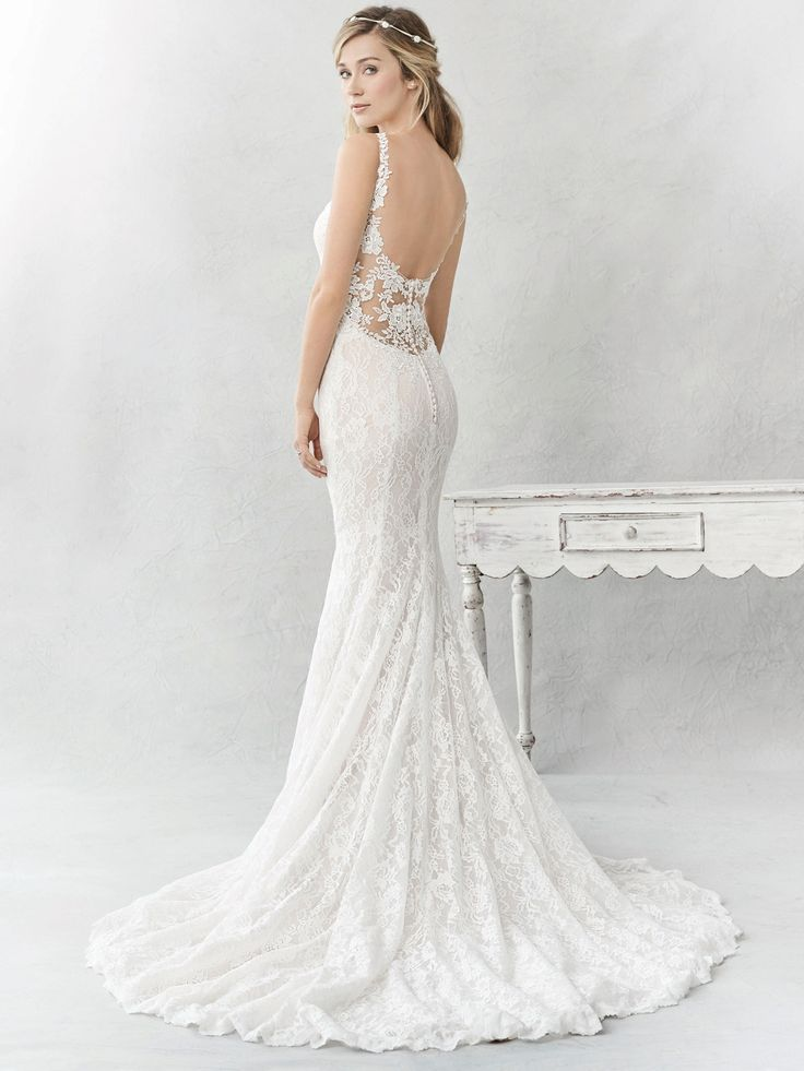Ella Rosa Style BE365 | gorgeous lace gown with illusion lace low back | romantic wedding dress | bridal gown