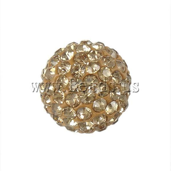 Горный хрусталь глина вымощает бусины, Круг, С горный хрусталь, Серебро цвет шампанского, 12 мм, Разрез : приблизительно 2 мм