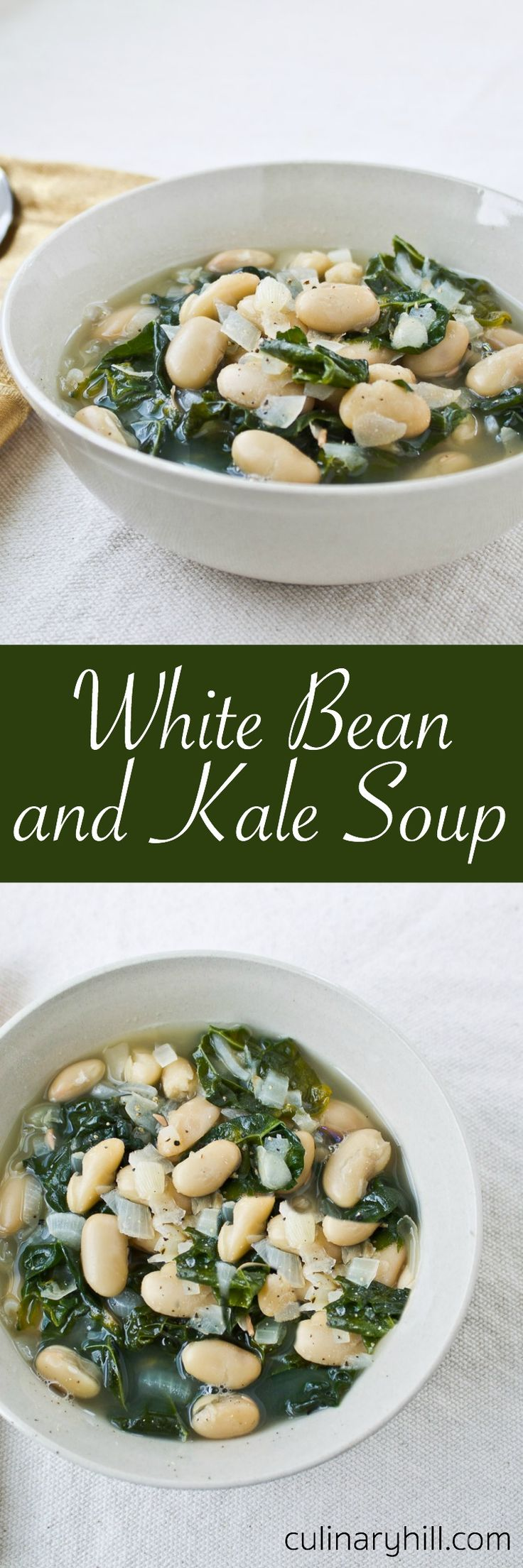 Jump-start your healthful eating habits with my easy White Bean and Kale Soup. It only takes 7 ingredients and 30 minutes. Use vegetable broth for an easy vegan option!