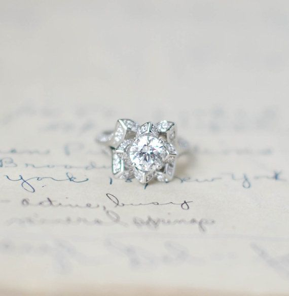 Lotus Engagement Ring  Flower Wedding Ring  Rose by MochaRings, $105.00