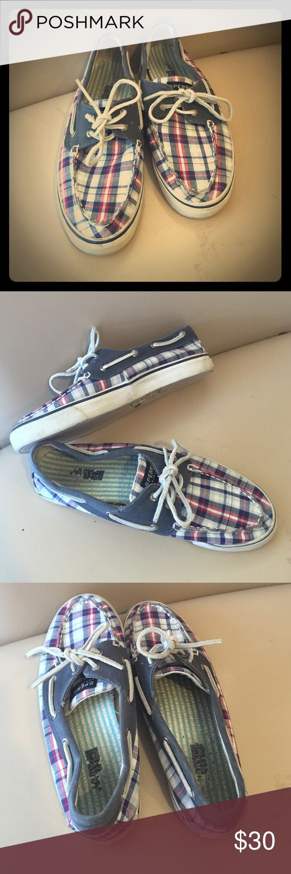 Plaid Sperry TopSider Boar Shoes Women's 9 Red White & Blue Sperry Boat Shoes in average used condition. Outsides are clean, insides show a little wear but still lots of life left, see pictures! Sperry Top-Sider Shoes Flats & Loafers
