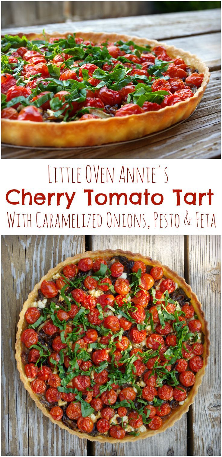 Feta, caramelized onions, and grape-leaf walnut pesto create a savory bed for fresh cherry tomatoes in this beautiful Cherry Tomato Tart.