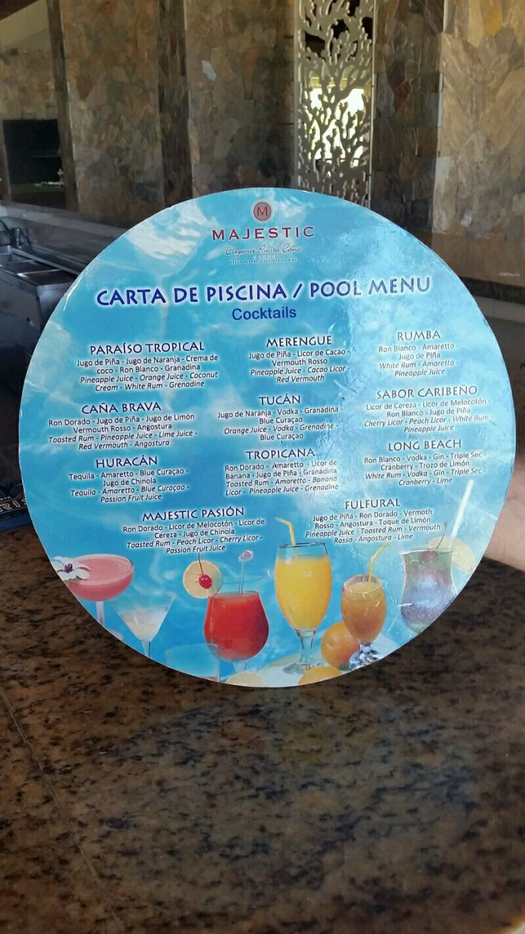 The pool drink menu at Majestic Elegance Resort, Punta Cana, DR  June 2015