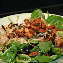 Spinach Salad with Caramelized Onions, Roasted Grapes, and Spiced ...