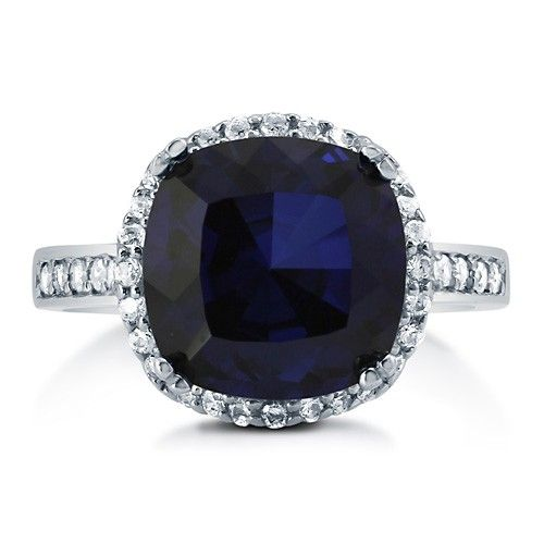 Cushion Cut Sapphire CZ 925 Sterling Silver Halo Cocktail Ring 4.91 Ct #r747-SP