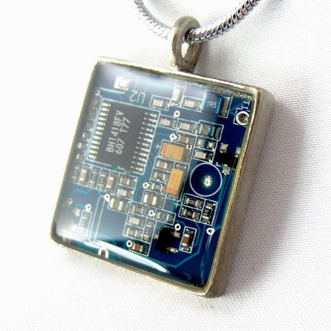Techcycled - Computer Chip Circuit Board Necklace -- Blue, Square Domed