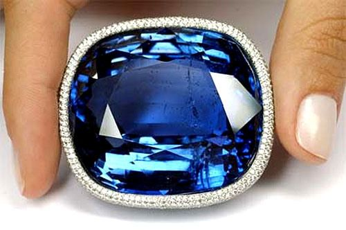 """""""Blue Giant of the Orient,""""  the largest faceted blue sapphire in the world at 486.52 carats.  It was discovered in Ceylon (Sri Lanka) in 1907."""