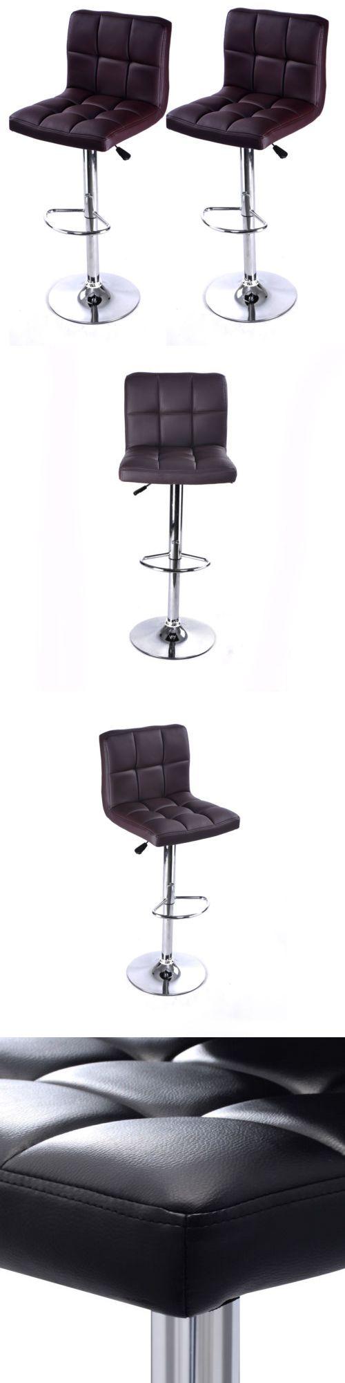 Bar Stools 153928: Set Of 2 Adjustable Bar Stools Pu Leather Barstools Swivel Pub Chairs Black New -> BUY IT NOW ONLY: $60.59 on eBay!