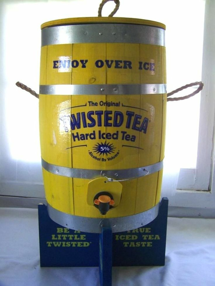 Twisted Tea Wood Keg Barrel Drink Dispenser with Stand Hard Ice Tea Bar Man Cave