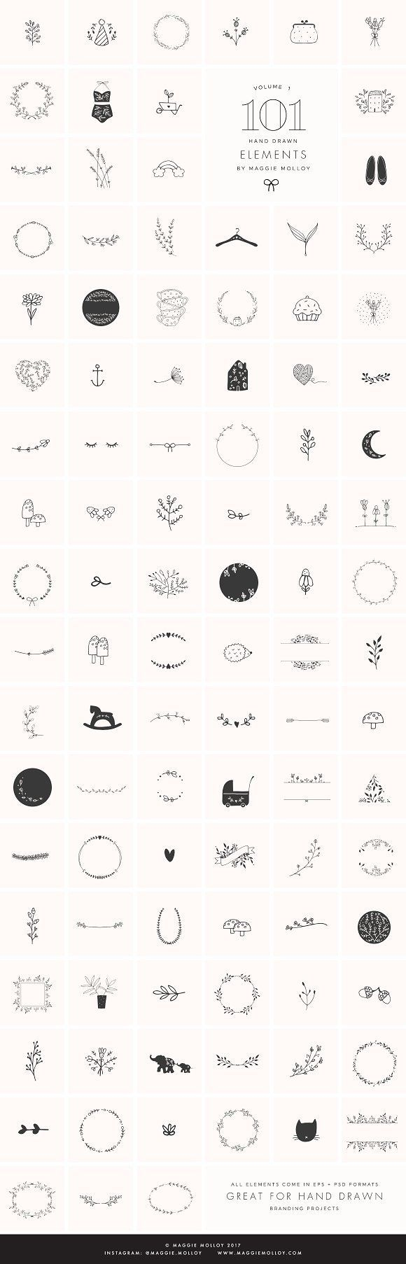 101 Hand Drawn Logo Elements EPS PSD by Maggie Molloy on @creativemarket