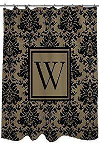 Amazon.com: Thumbprintz Shower Curtain, Monogrammed Letter W, Black and Gold Damask by Thumbprintz: Home & Kitchen