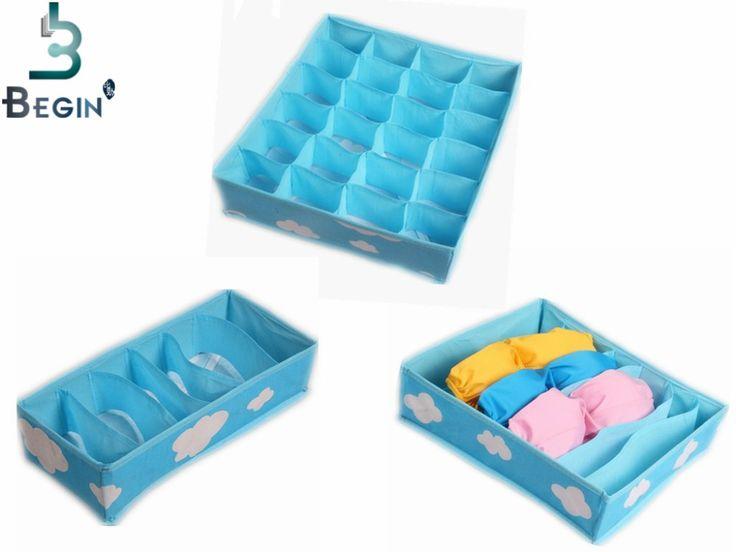 gratis verzending 2016 blauw verschillende rasterpatroon mode handige opvouwbare opbergdoos tas voor ondergoed beha stropdas sok organisator