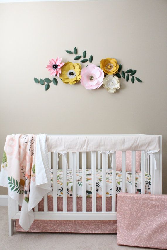 Floral Crib Bedding/ Baby Girl Bedding / Modern by Lillybrookebaby