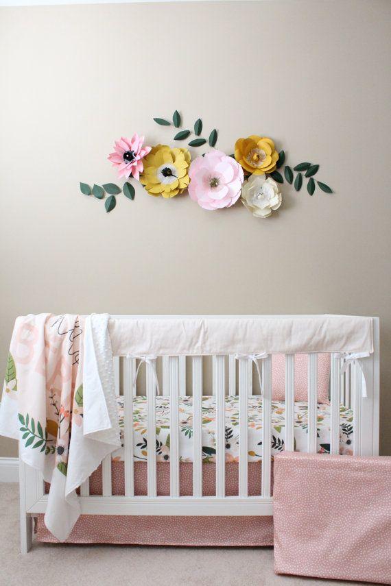 Floral Crib Bedding/ Baby Girl Bedding / Modern by Lillybrookebaby