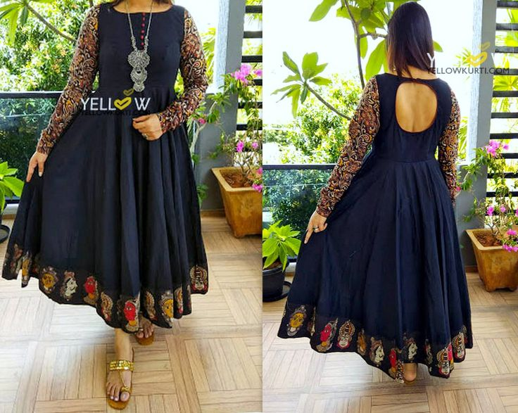 Black kalamkari evening gown -Customisable in any colour and pattern as per your choice.Kindly write to teamyellow@yellowkurti.com 22 June 2017
