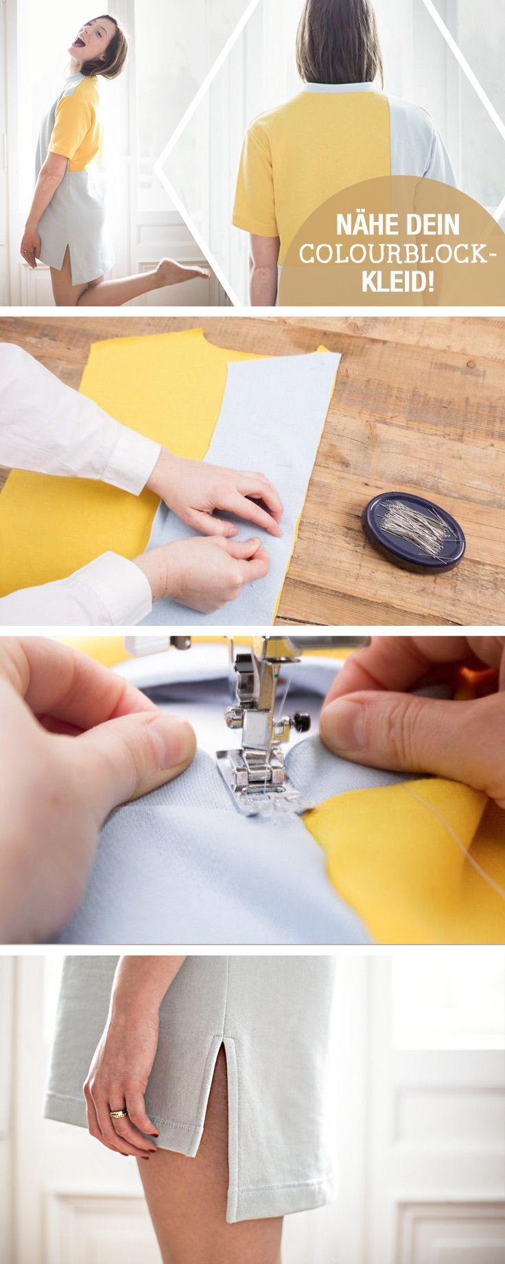 DIY-Anleitung für ein angesagtes T-Shirt Kleid im Colourblocking Stil, lässiger Schnitt / diy sewing tutorial: sew your own casual dress, summer dress via DaWanda.com